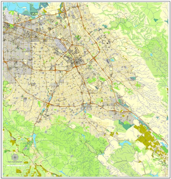 Vector Map San Jose, California, US, printable vector map street City Plan V.3.08.2016 full editable, Adobe Illustrator, full vector, scalable, editable text format street names, 19 mb ZIP