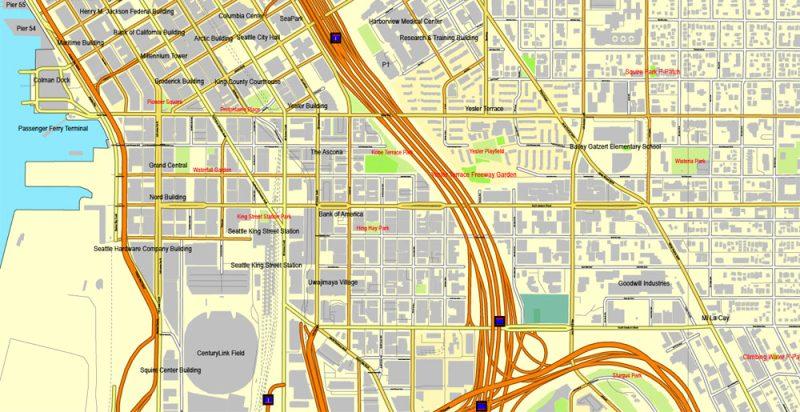 Vector Map Seattle, Washington, US, vector map Adobe Illustrator editable 3 parts City Plan V3-2016.08, full vector, scalable, editable, text format street names, 51 mb ZIP