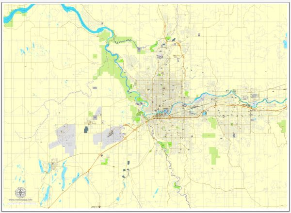 Vector Map Spokane, Washington, US, exact printable vector street City Plan map V.3, full editable, Adobe Illustrator, full vector, scalable, editable, text format street names, 7 mb ZIP