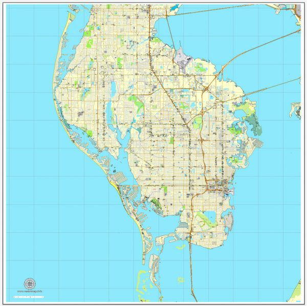 St. Petersburg, Florida, US, vector map Adobe Illustrator editable City Plan V3-2016.08, full vector, scalable, editable, text format street names, 8 mb ZIP