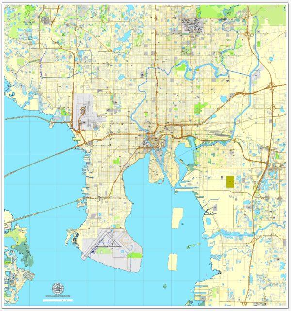 Vector Map Tampa, Florida, US, vector map Adobe Illustrator editable City Plan V3-2016.08, full vector, scalable, editable, text format street names, 9 mb ZIP