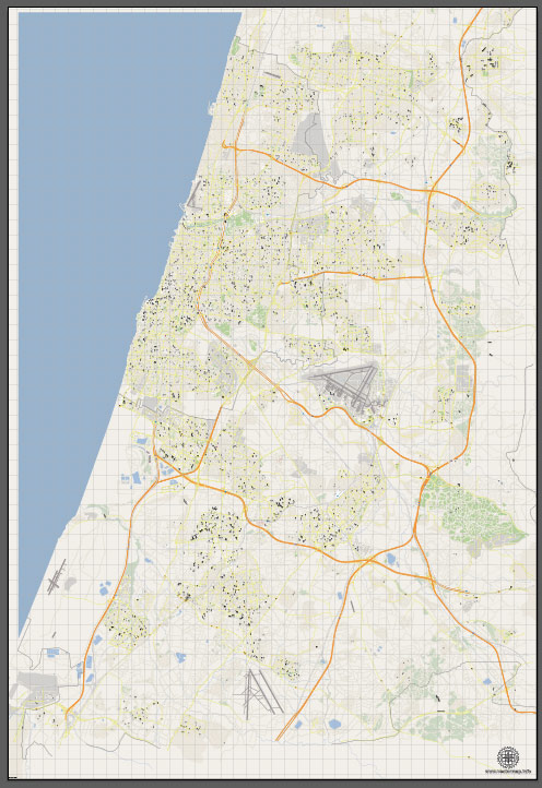 VectorMap Tel Aviv, Israel, printable vector street City Plan G-View V.3 map full editable, Adobe Illustrator, full vector, scalable, editable, text format street names, 18 mb ZIP
