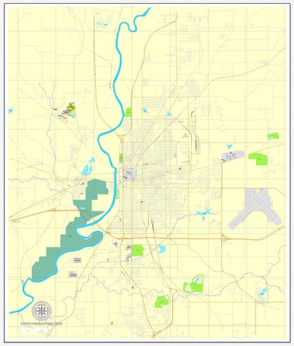 Exact Vector Map Terre-Haute, Indiana, US, printable vector street City Plan map V.3, full editable, Adobe Illustrator, full vector, scalable, editable, text format street names, 2 mb ZIP