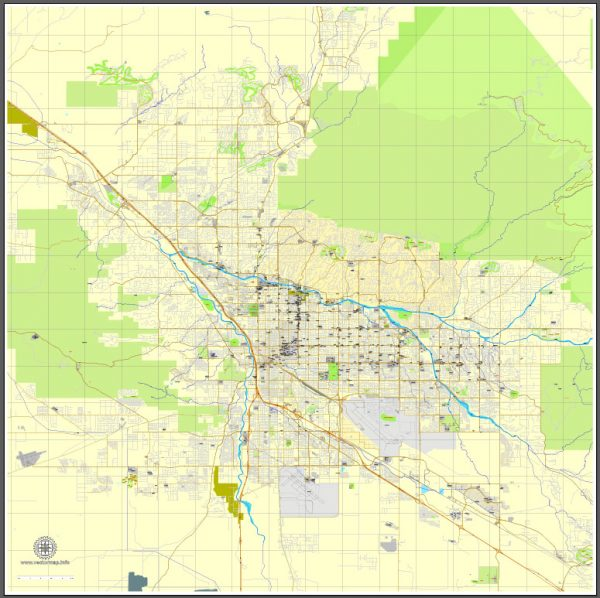 Vector Map Tucson, Arizona, US, exact map printable vector street City Plan V.3, full editable, Adobe Illustrator, full vector, scalable, editable, text format street names, 12 mb ZIP