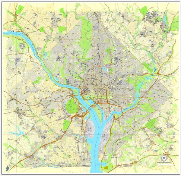 Vector Map Washington, D.C., US, vector map Adobe Illustrator editable City Plan V3-2016.08, full vector, scalable, editable, text format street names, 28 mb ZIP
