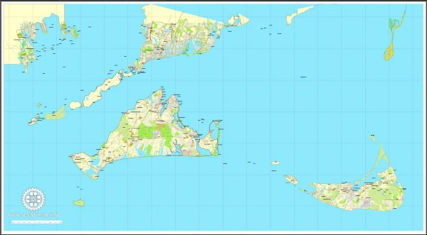 Printable map Nantucket and Martha's Vineyard Islands, Massachusetts, US, printable vector map street City Plan V.3.09 full editable, Adobe Illustrator, full vector, scalable, editable text format street names, 14 mb ZIP
