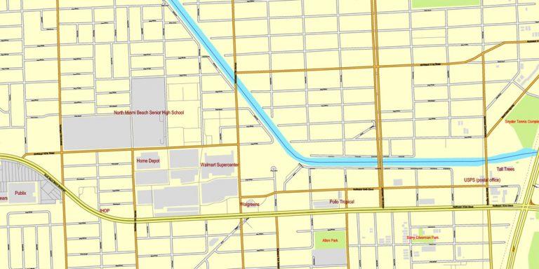 miami, florida, us, exact vector street city plan map v3