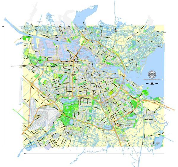 Printable Map Amsterdam, Netherlands, printable vector map Adobe Illustrator editable City Plan G-View Level 13 (2.000 m) V3.09, full vector, scalable, editable, text format street names, 6 mb ZIP