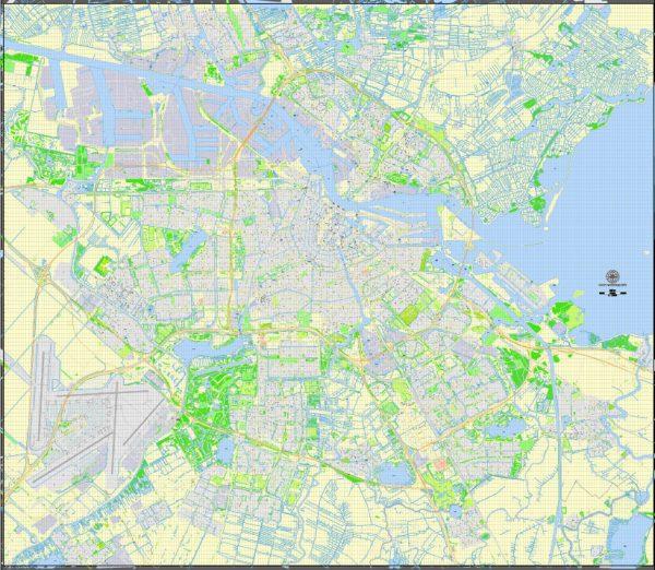 Printable Map Amsterdam, Netherlands, vector map Adobe Illustrator editable City Plan G-View Level 17 (100 m) V3.09, full vector, scalable, editable, text format street names, 20 mb ZIP
