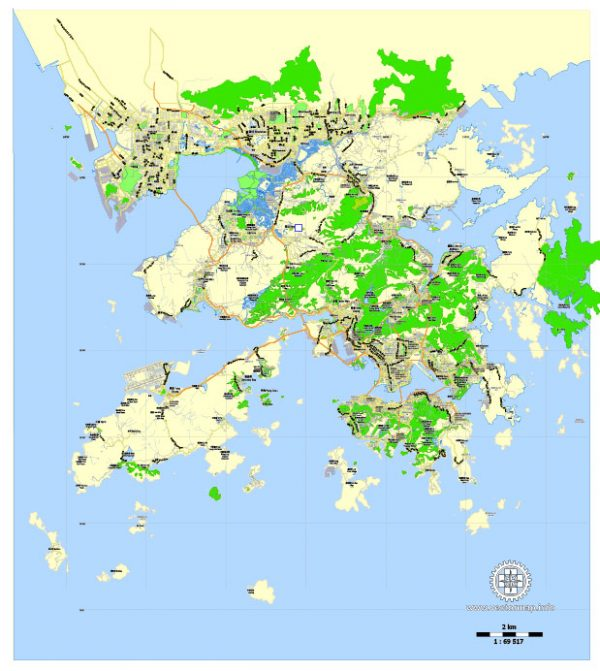Printable Map Hong Kong - Shenzhen, China, exact vector map Adobe Illustrator editable City Plan G-View Level 13 (2.000 meters scale) V3.09, full vector, scalable, editable, text format street names, 7 mb ZIP