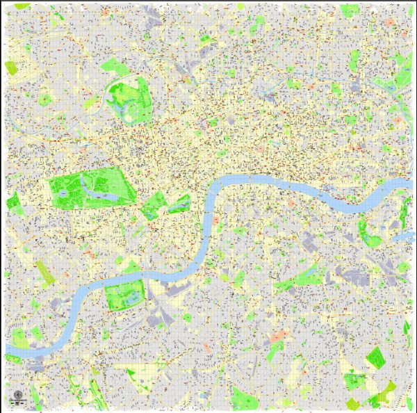 Printable Detailed Map London Center, England UK, exact vector map Adobe Illustrator editable City Plan G-View Level 17 (100 meters scale) V3.09, full vector, scalable, editable, text format street names, 16 mb ZIP