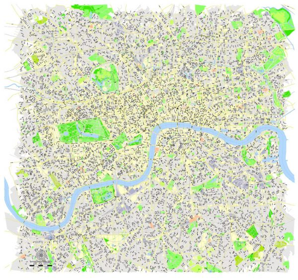 Printable Map London Center, England UK, vector map Adobe Illustrator editable City Plan G-View Level 16 (250 meters scale) V3.09, full vector, scalable, editable, text format street names, 13 mb ZIP