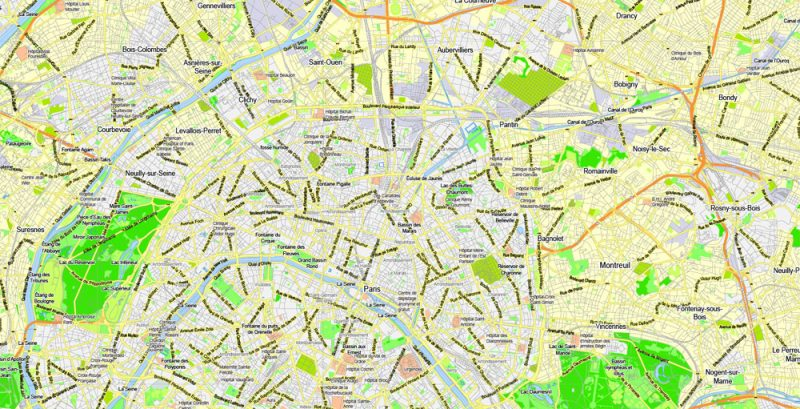 Printable Map Paris Grande Map, France, vector map Adobe Illustrator editable City Plan G-View Level 13 (2.000 meters scale) V3.09, full vector, scalable, editable, text format street names, 6 mb ZIP