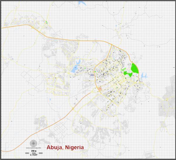 Printable Map Abuja, Nigeria, exact vector map G-View level 16 (250 meters) street City Plan full editable, Adobe Illustrator, full vector, scalable, editable text format street names, 2 mb ZIP