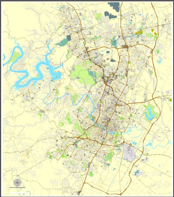 Printable Map Austin, Texas, US, exact vector map Adobe Illustrator editable City Plan V3.09, full vector, scalable, editable, text format street names, 19 mb ZIP