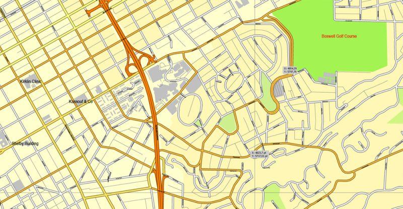 Vector Map Birmingham, Alabama, US, exact vector map Adobe Illustrator editable City Plan V3.09, full vector, scalable, editable, text format street names, 8 mb ZIP