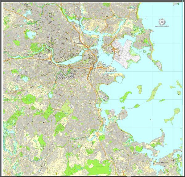 Vector Map Boston, Massachusetts, US, exact map: Printable City Plan Map V.2, Adobe Illustrator, full vector, scalable, editable, separated text layer street names, 43 mb ZIP