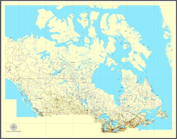 Free vector Map Canada, mainroads, cities, borders, province borders, Adobe Illustrator, PDF, editable, printable