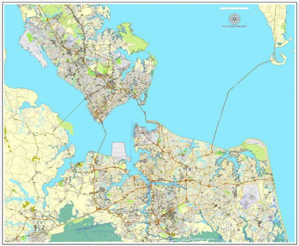 Printable map Hampton, Newport News, Norfolk, Chesapeake, Portsmouth, Virginia Beach, US, exact vector street City Plan map V2.09, full editable, Adobe Illustrator, full vector, scalable, editable text format street names, 45 mb ZIP
