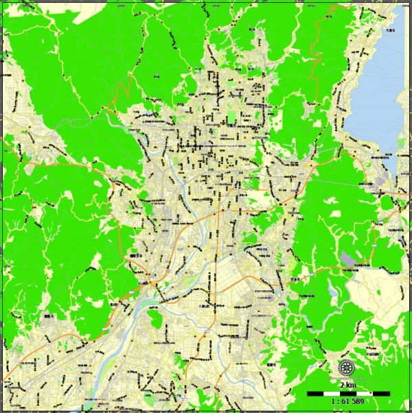 Printable Map Kyoto, Japan, exact vector map G-View level 13 (2,000 meters) street City Plan V.3.09 full editable, Adobe Illustrator, full vector, scalable, editable text format street names, 5 mb ZIP