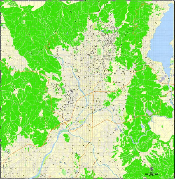 Printable Map Kyoto, Japan, exact vector map G-View level 16 (250 meters) street City Plan V.3.09 full editable, Adobe Illustrator, full vector, scalable, editable text format street names, 13 mb ZIP