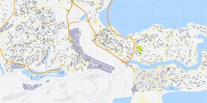Printable Map Lagos, Nigeria, exact vector map G-View level 16 (250 meters) street City Plan full editable, Adobe Illustrator, full vector, scalable, editable text format street names, 6 mb ZIP