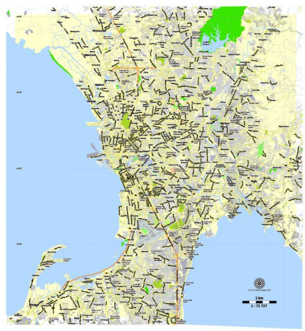 Printable Map Manila Grande, Philippines, exact vector street City Plan map G-View Level 13 (2000 meters), full editable, Adobe Illustrator, full vector, scalable, editable text format street names, 6 mb ZIP