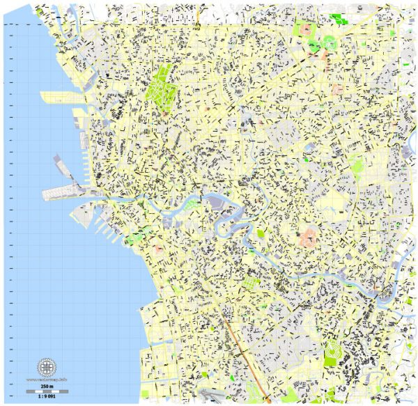 Printable Map Manila, Philippines, exact vector street City Plan map G-View Level 16 (250 meters), full editable, Adobe Illustrator, full vector, scalable, editable text format street names, 10 mb ZIP