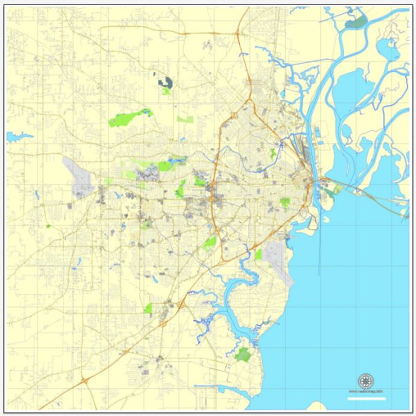 Printable Map Mobile, Alabama, US, exact vector street City Plan map V3.09, full editable, Adobe Illustrator, full vector, scalable, editable text format street names, 7 mb ZIP
