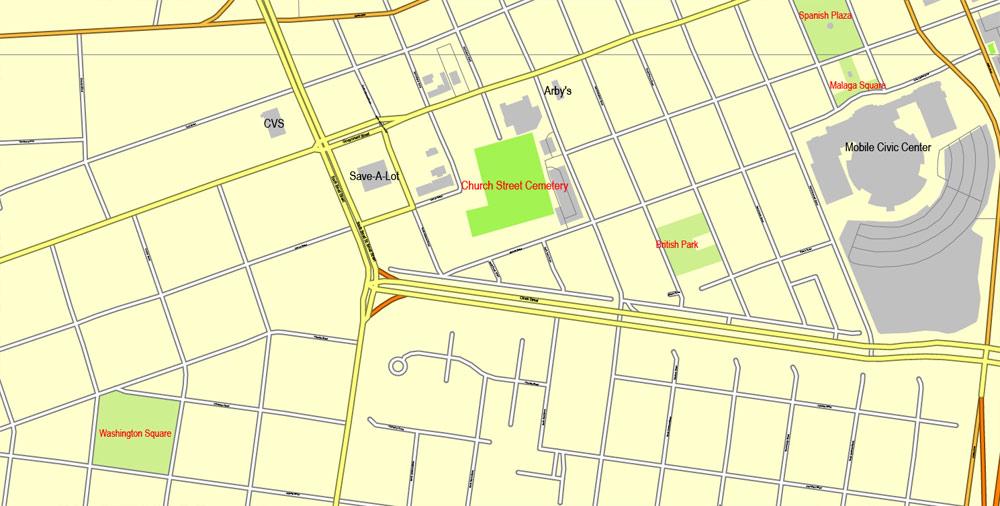 Pdf map Mobile Alabama PDF