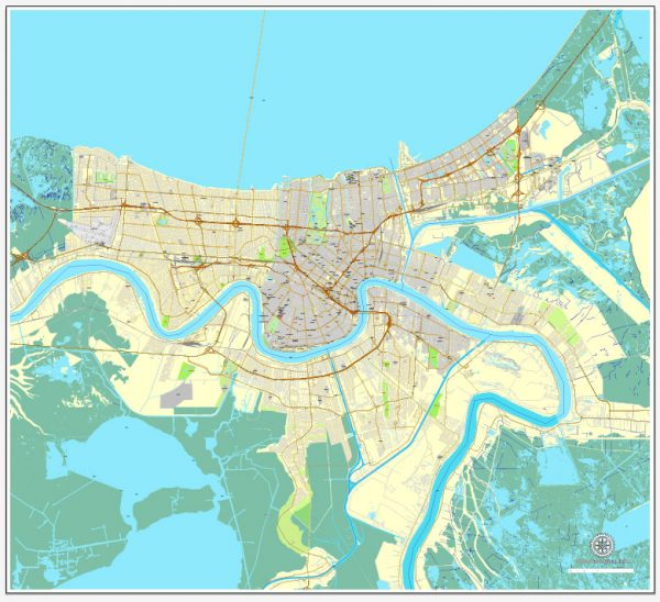 Vector Map New Orleans, Louisiana, US, exact vector map Adobe Illustrator editable City Plan V3.09, full vector