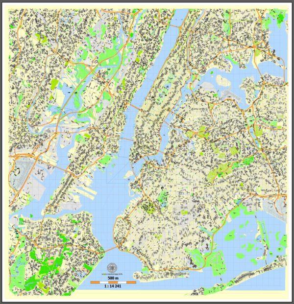 Printable New York Map, US, exact vector street G-view Level 15 (500 meters) map V3.09, full editable, Adobe Illustrator, full vector, scalable, editable text format street names, 23 mb ZIP