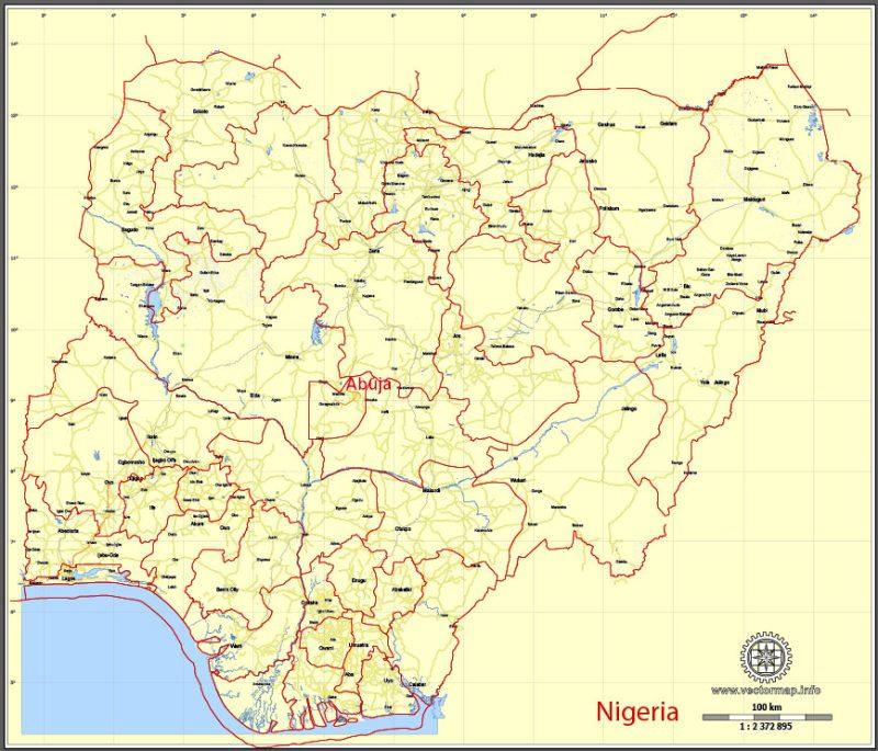 Printable Map Nigeria, full, exact vector map G-View level 8 (100 kilometers) Main Roads and borders, full editable, Adobe Illustrator, full vector, scalable, editable text format street names, 8 mb ZIP