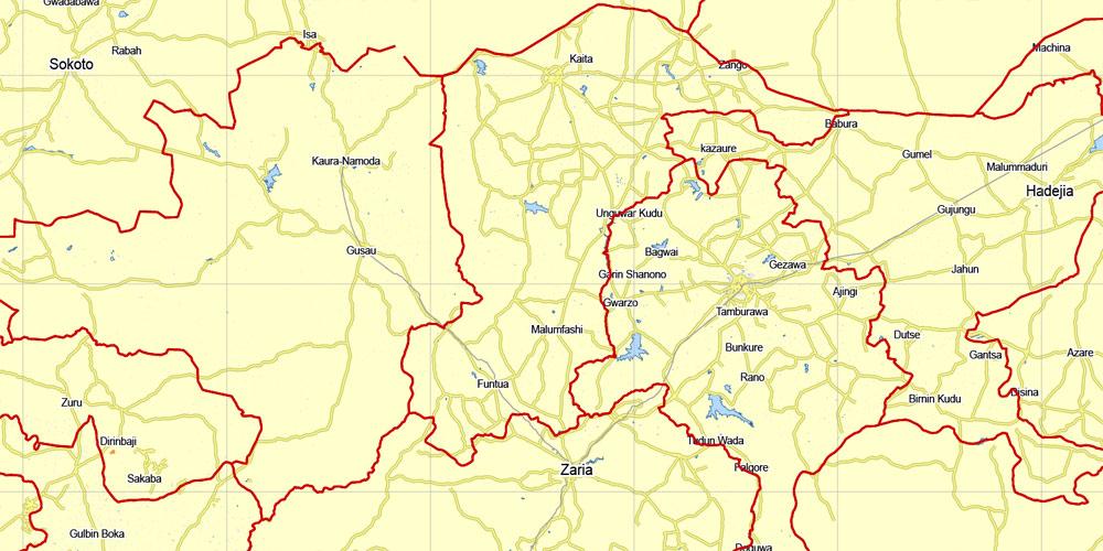 Nigeria, full, printable exact vector map G-View level 8 (100 kilometers) Main Roads and borders, full editable, Adobe Illustrator