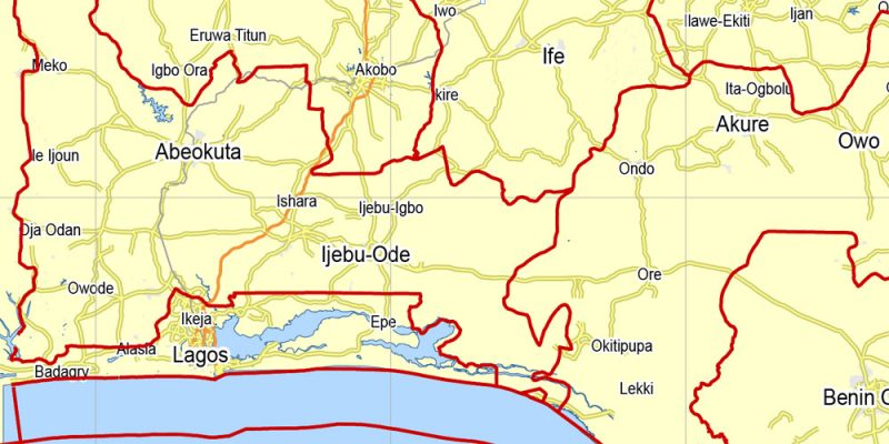 Nigeria full printable exact vector map 100 km scale Main Roads and borders 01 editable Adobe Illustrator
