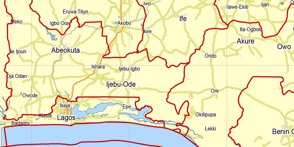 Nigeria full printable exact vector map 100 km scale 01 Main Roads and borders, full editable, Adobe PDF