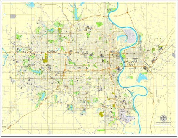 Printable Map Omaha, Nebraska, US, exact vector street City Plan map V3.09, full editable, Adobe Illustrator, full vector, scalable, editable text format street names, 11 mb ZIP