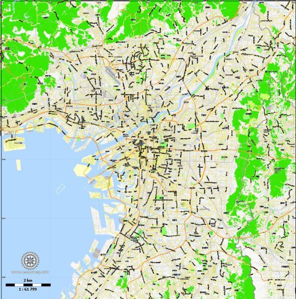 Printable Map Osaka, Japan, exact vector map G-View level 13 (2,000 meters) street City Plan V.3.09 full editable, Adobe Illustrator, full vector, scalable, editable text format street names, 10 mb ZIP