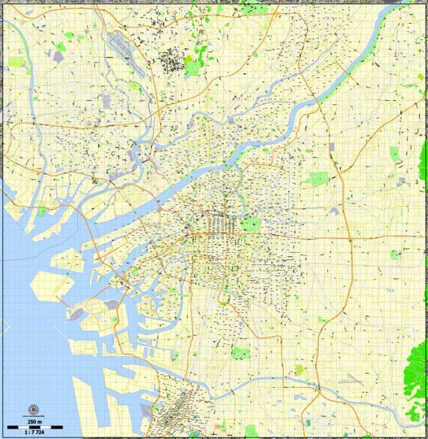 Osaka Map PDF Vector Japan printable exact City Plan 250 meters scale Street Map editable Adobe PDF, scalable, editable text format street names, 32mbZIP