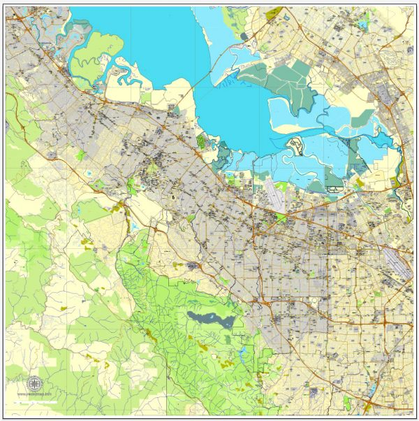 Printable map Palo Alto + Mountain View, California, US, exact vector street City Plan map V3.09, full editable, Adobe Illustrator, full vector, scalable, editable text format street names, 27 mb ZIP
