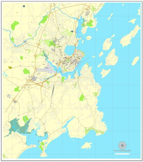 Printable Map Portland, Maine, US, exact vector street City Plan map V3.09, full editable, Adobe Illustrator, full vector, scalable, editable text format street names, 4 mb ZIP
