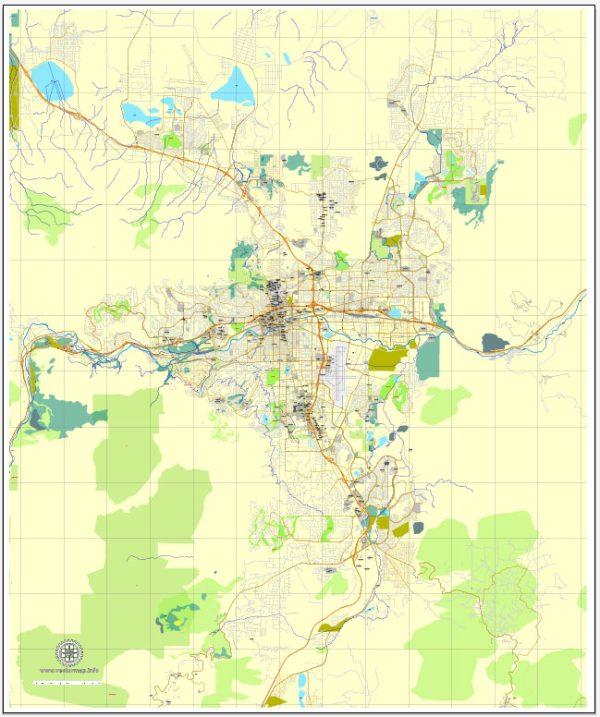 Map Reno, Nevada, US, exact vector street City Plan map V3.09, full editable, Adobe Illustrator, full vector, scalable, editable text format street names, 10 mb ZIP