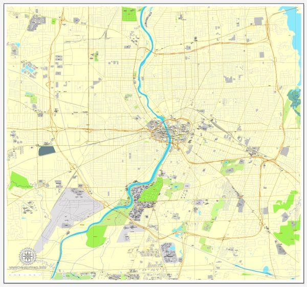 Printable Map Rochester, New York, US, exact vector street City Plan map V3.09, full editable, Adobe Illustrator, full vector, scalable, editable text format street names, 3 mb ZIP