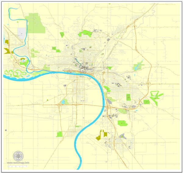Printable Map Sioux City, Iova, US, exact vector street City Plan map V2.09, full editable, Adobe Illustrator, full vector, scalable, editable text format street names, 3 mb ZIP