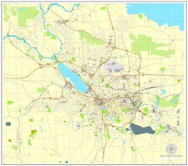 Printable Map Syracuse, New York, US, exact vector street City Plan map V2.09, full editable, Adobe Illustrator, full vector, scalable, editable text format street names, 7 mb ZIP