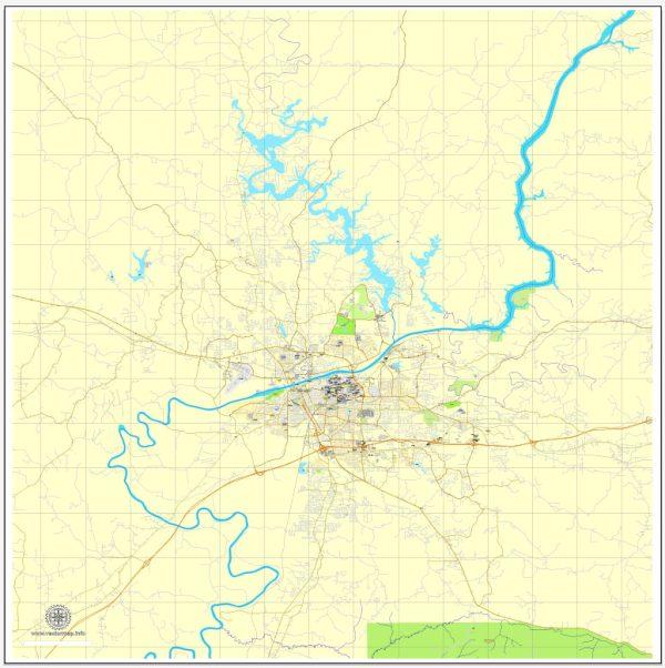 Printable Map Tuscaloosa, Alabama, US, exact vector street City Plan map V3.09, full editable, Adobe Illustrator, full vector, scalable, editable text format street names, 6 mb ZIP