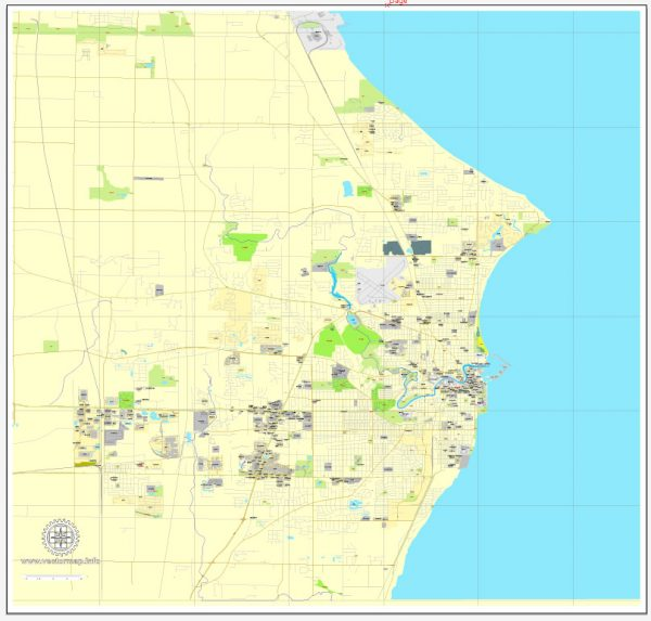 Printable Map Wind Point, Wisconsin, US, exact vector street City Plan map V3.09, full editable, Adobe Illustrator, full vector, scalable, editable text format street names, 2 mb ZIP