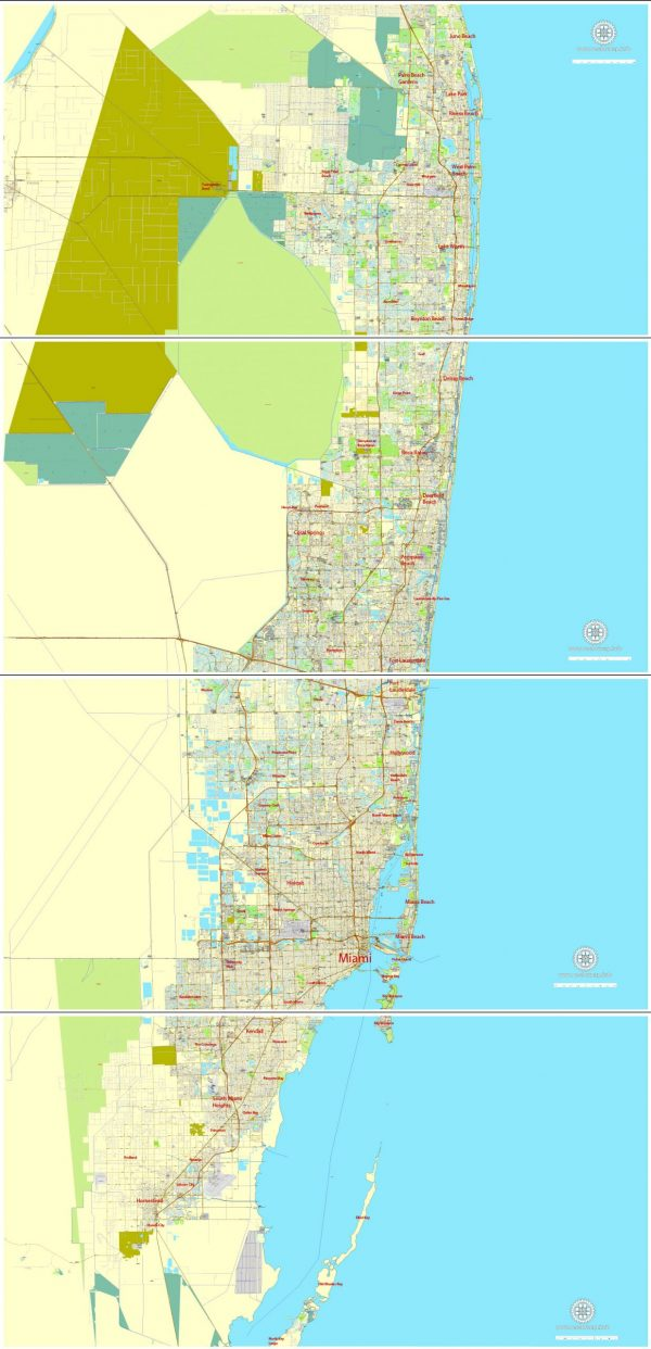Printable Map Greater Miami, Florida, US, exact vector street City Plan map in 4 parts V5.10, full editable, Adobe Illustrator, full vector, scalable, editable text format street names, 57 mb ZIP