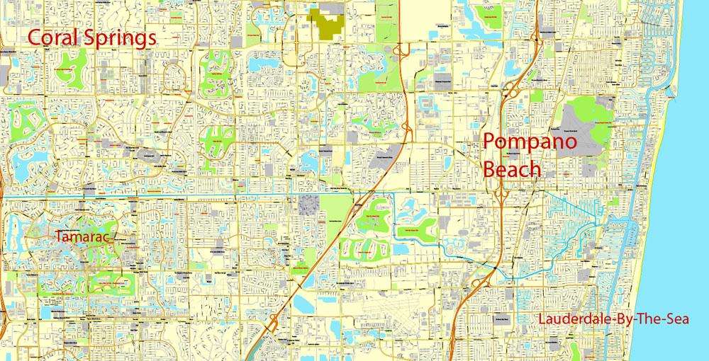 city map miami vector urban plan adobe pdf editable street map