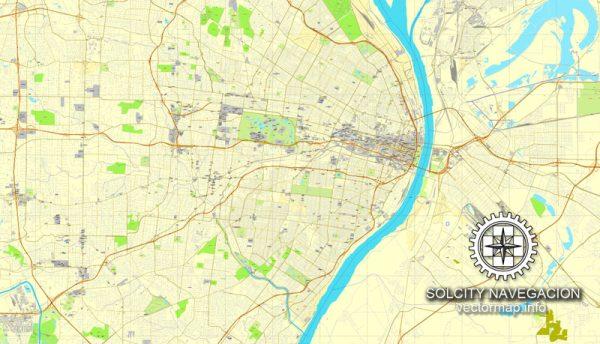 Saint Louis Map Vector Missouri US printable exact City Plan V.4.10 full editable Street Map Adobe Illustrator